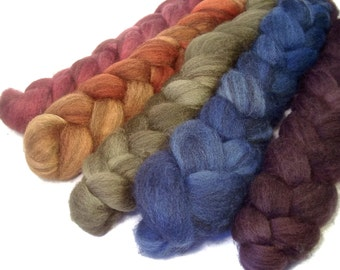 Handpainted Heathered BFL Wool Roving Bundle - 5 oz. BOUNTIFUL - Spinning Fiber