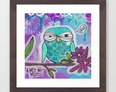 a wee bit wise - reproduction print, owl, blooms, cyan, blue, robin egg, hoot