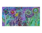 flower garden, blooms, blossoms, boho, garden, spring,purple, teal, modern, contemporary art, folk
