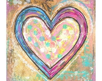 blue, pink heart, love, romance, art - mixed media painting reproduction print