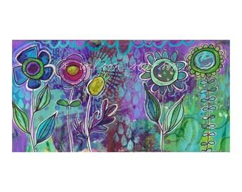 flower garden, blooms, blossoms, boho, garden, spring,purple, teal, modern, contemporary art, folk