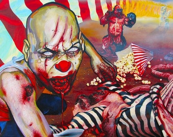 RW2 Signed Limited Edition Print Apocalyptic Clown ZOMBIE by Robert Walker