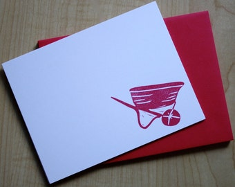Red Wheelbarrow - Hand Printed - Flat Note Stationery - Set of 6