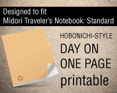 Midori Traveler's Notebook * Standard * }} Printable {{ DAY on ONE PAGE Hobonichi-inspired with mood tracker / moon & weather tracker /