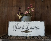 CUSTOM WEDDING SIGN, Personalized Name Sign, Vintage Sign, Bridal Gift, Family Name Sign, 20 x 8