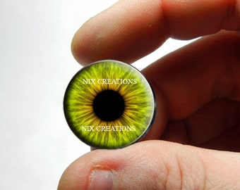 Glass Eyes - Green Hazel Human Doll Taxidermy Eyes Handmade Glass Cabochons - Pair or Single - You Choose Size