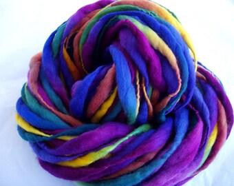 Handspun merino yarn, thick and thin yarn, PRISMA 6, hand painted merino yarn, quick knit yarn, super bulky yarn, dolls hair, dreads, 45yds