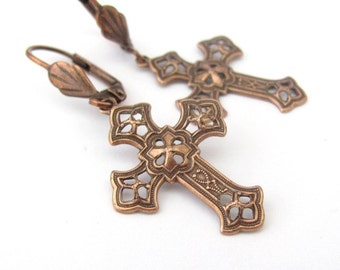 Cross Earrings Ornate Antiqued Copper - Gold - Silver Plated Colors Bridesmaid Birthday Baptism Wedding Gift Hawaiibeads