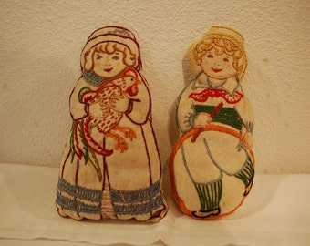 Vintage soft sculpture dolls