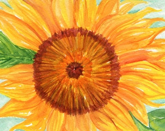 Sunflower Watercolor Painting original 5 x 7 Flower Painting, Small Floral Wall Art, painting of sunflowers floral , SharonFosterArt
