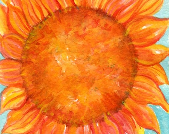 Sunflower original watercolor painting,  small orange sunflower on turquoise home decor, 5 x7, watercolor art, watercolors paintings