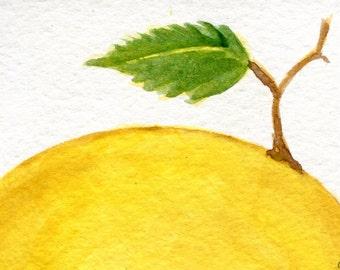ACEO Lemon Watercolor Painting Original, art card, small watercolor painting of lemon with leaf