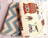 Baby Boy Burp Cloths  - Owl Burp Cloth - Super Absorbent Triple Layer Chenille Set of 2  - Owls & Village Blue Chevron