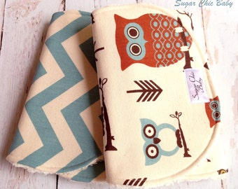 Baby Boy Burp Cloths  - Owl Burp Cloth - Super Absorbent Triple Layer Chenille Set of 2  - Owls & Village Blue Chevron