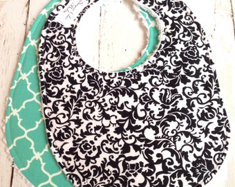 Baby Bibs for Girl or Boy - Gender Neutral - Set of 2 Triple Layer Chenille  - Black White Floral & Teal Quatrefoil