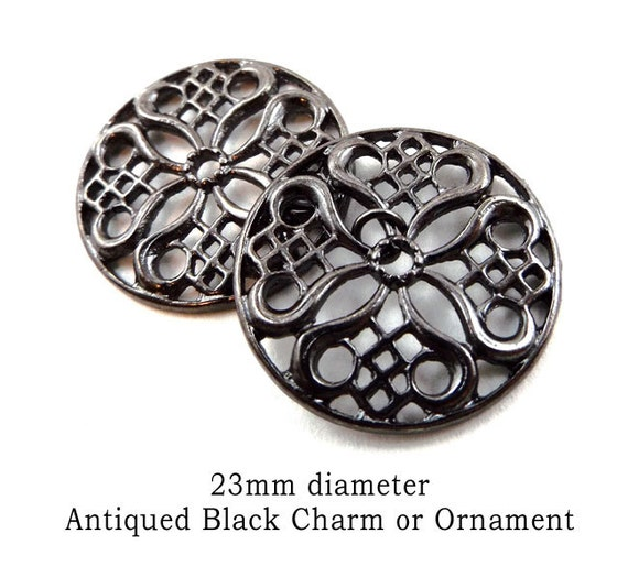 black enamel filigree charms for earring dangles or necklace focal pendant