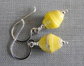 Yellow Earrings, Paper Earrings, Lemon Yellow, Sunshine Yellow, Recycled Paper, Silver Earrings, Sterling Silver, Paper Jewelry,