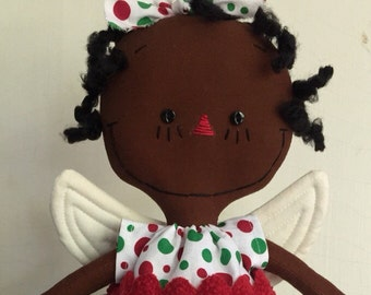 African American Angel Christmas Tree Topper....red and green polka dots