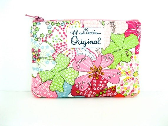 Pink Mauvey Floral Small Change Purse, Coin Purse, Liberty of London Fabric, Pink Wallet, Floral Wallet, Zipper Pouch