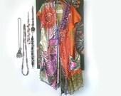 RESERVED Balance Payment for Diana - Mandarin Burro Jacket, Donkey, Silk, Cotton, Orange, Green, Purple, Lace, Vintage, Embroidery, Bohemian