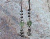 Green KYANITE earrings, TASSEL earrings, oxidized sterling silver, fringe, handmade artisan jewelry, Angry Hair Jewelry