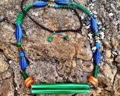 Midcentury Green Tube Necklace