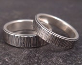 RESERVED Listing - Birch Bark Sterling Silver Wedding Band Set