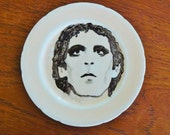Lou Reed hand painted portrait on a vintage bone china bread and butter plate with hanger music display SALE