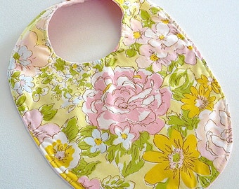 FLASH SALE - vintage floral pink rose yellow flowers fabric boutique bib girl baby pink minky #262