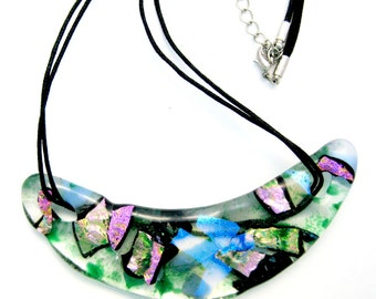 Fused Glass Jewelry Bib Necklace - Green Glass with Pink and Turquoise Dichroic Bib Neckalce