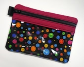 Buttons Zipper Pouch, Vinyl Pouch, Zipper Bag, Sewing Kit, Cell Phone Case, Gadget Case, Makeup Bag, Purse Organizer, Coin Purse