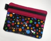 Buttons Zipper Pouch, Vinyl Pouch, Zipper Bag, Sewing Kit, Cell Phone Case, Gadget Case, Makeup Bag, Purse Organizer, Coin Purse