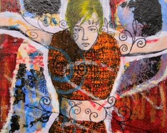 Original Art Woman in Orange Dress Arms Open Original Art Small Square Mixed-Media Collage Unframed