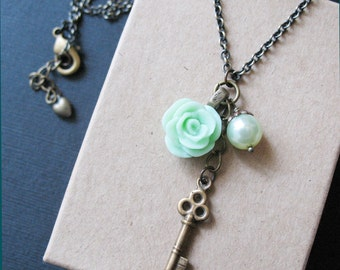 Antique Key Charm Necklace Pastel Green Rose Flower Jewelry