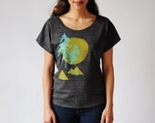 Sale! Camping Shirt Loose T-Shirt, Comfy Tee, Backcountry Design with Tents, Moon Design, Graphic Tee for Women