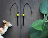 Kira Earrings - black chartreuse green modern minimal simple geometric minimalist dangle long