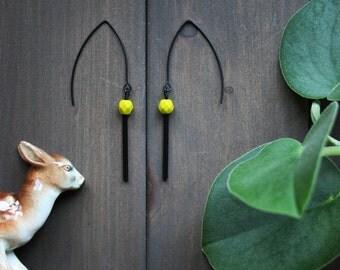 Kira Earrings - black chartreuse green modern minimal simple geometric minimalist