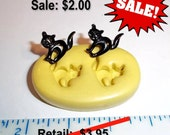 ON SALE - Kitty Cats -  Black Cat Flexible Push Mold -  Food Safe Silicone  I205