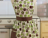 Retro Apron green and Brown Apples on White CHLOE