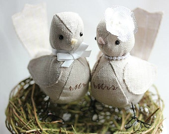 Rustic birds cake topper - Wedding cake topper  Love birds - Bird cake topper -wedding gifts soft sculpture - PERSONALIZED FOR YOU