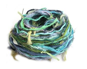 Creative Yarn Variety Pack, Lush Landscape, 30 metres, turquoise blue lime green embellishment trim