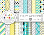 40% off DIGITAL PAPERS IN turquoise gray yellow and black scrapbook paper chevron, damask, quatrefoil, polka dots