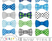 50% off BOW TIES clipart 15 bowties blue, gray, striped, polka dots commercial use included Instant Download boys, green