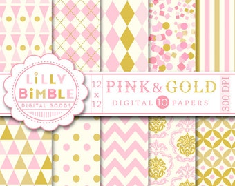 60% off PINK and GOLD digital paper with confetti, damask, chevron, Scrapbook papers for cards Instant Download