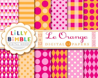 80% off Hot pink and orange digital paper with polka dots, stripes, circus, carnival, scrapbook papers Instant Download commercial use
