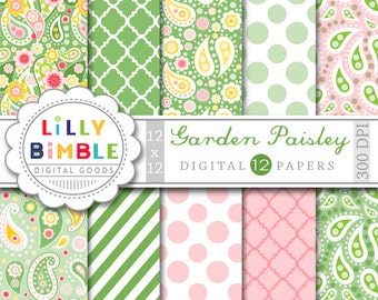 60% off PAISLEY digital papers in green, pink, yellow, Garden scrapbooking paper pack INSTANT DOWNLOAD