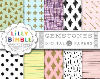 40% off Digital Papers with ikat, arrows, dots, handdrawn, irregular, elegant lines in pale pink, black and white GEMSTONE Instant Download