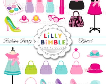 40% off Fashion Party Clipart with Purses, Makeup, Jewelry, high heels, nail polish Digital Download Commercial Use