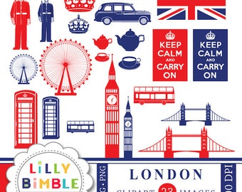 40% off London England clipart for crafts and design Britain UK Keep Calm Instant Download images