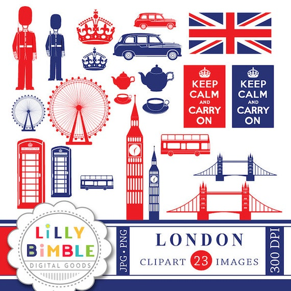 50% off London England clipart for crafts and design Britain UK Keep Calm Instant Download images